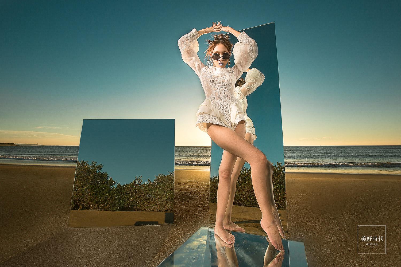 自助婚紗 自主婚紗 台北 婚紗 推薦 唯美 浪漫 創意 海邊 鏡子